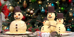 Paul A Young's white chocolate snowman centerpiece on This Morning