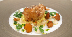 Matt Worswick's butter roasted sweet bread with celeriac puree, pickled mushrooms, apple a ...