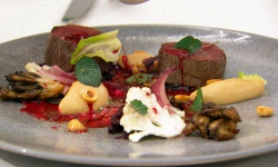 Olivia's venison with beetroot, cauliflower, mushrooms and a beetroot, smoked bone marrow  ...