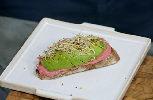 Henry Firth and Ian Theasby's avocado on toast with beetroot hummus on Living on the Veg