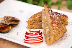 Ainsley Harriott apple Isle French toast with walnut and caramel bananas Ainsley's Market Menu