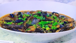Fuchsia Dunlop's fish fragrant aubergines on Sunday Brunch