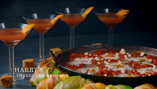 Harry's shakshuka bazooka with honey cake and Martines for Brunch on Crazy Delicious