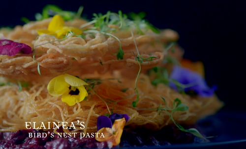 Elainea's bird's nest pasta on Crazy Delicious