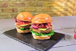 Ian and Henry (Bosh) ultimate big vegan burger with BBQ coleslaw on Living on the Veg
