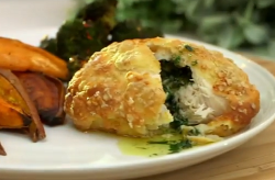 Catherine Tyldesley's healthy chicken kiev with sweet potato and a chilli and garlic brocc ...