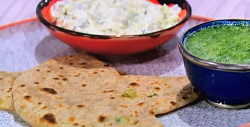 Romy Gill's aloo paratha with raita and coriander chutney on Sunday Brunch