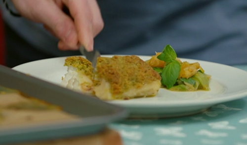 Gregg Wallace and James Drew's pine nuts crusted cod with a cucumber salad on Eat Well for ...