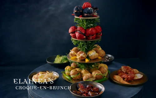 Elainea's croque-en-brunch with a dumpling stack and poached lobster on Crazy Delicious
