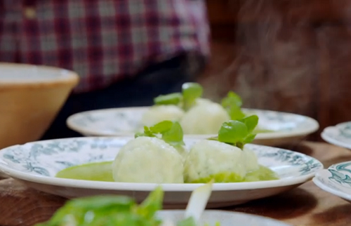 Jamie Oliver Italian gnudi dumplings with watercress and ricotta cheese on Jamie and Jimmy's Fri ...