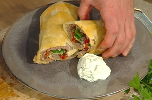 Matt Tebbutt's Turkish goat mince with flat bread on Saturday Kitchen