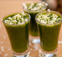 Ainsley Harriott global green shot and coconut smoothie on Ainsley's Market Menu