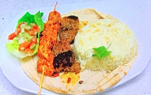 Abs's from Five chicken and lamb kebab on Celebrity Come Dine with Me