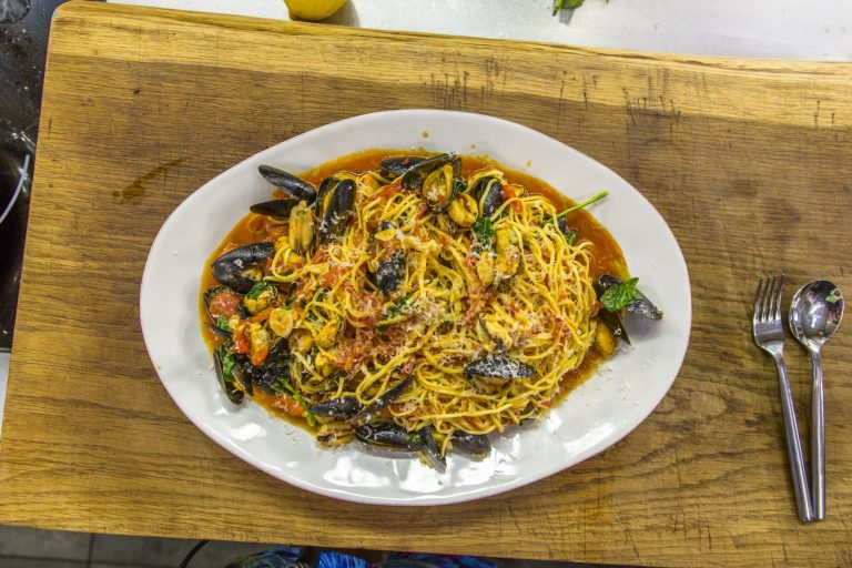 James Martin's mussels with spaghetti and tomato sauce on James Martin's Saturday Mo ...