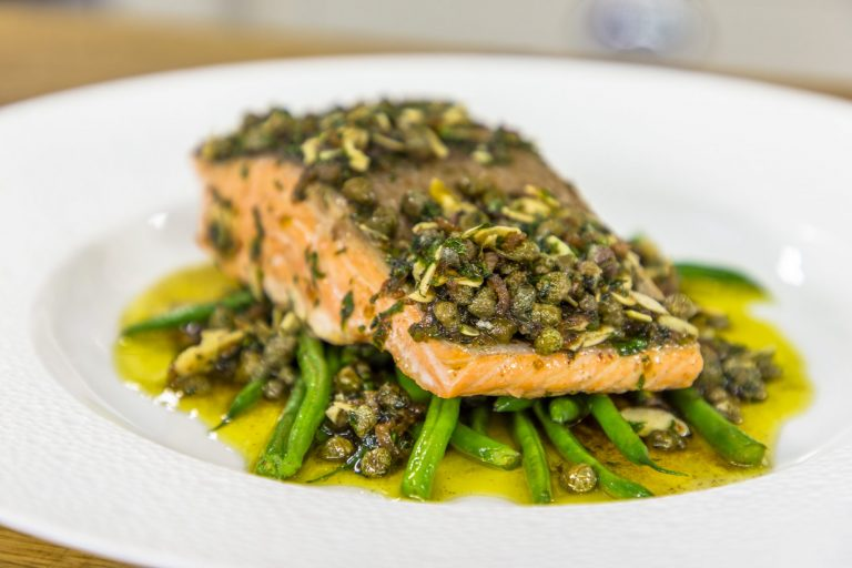 James Martin's Sea Trout with Beurre Noisette sauce, Flaked Almonds and Green Beans on Jam ...