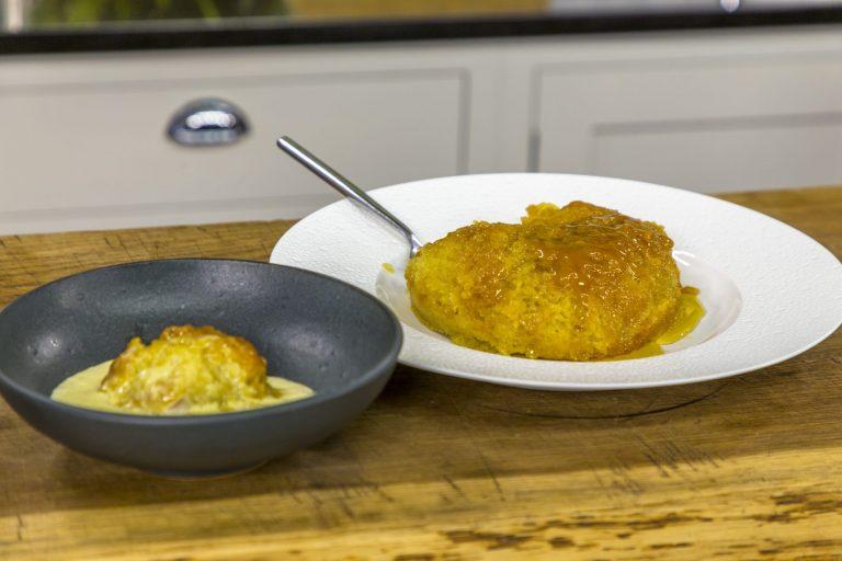 James Martin's steam sponge pudding with vanilla paste ans custard on James Martin's ...