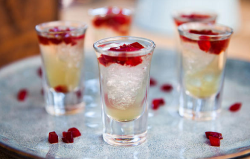 Ainsley Harriott iced mulled Willunga cider shots with plum confetti on Ainsley's Market Menu