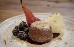 Sarah's spiced poached pear with a spiced chocolate cake on Best Home Cook