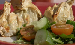 James  Drew's pork sausage and apple parcels on Eat Well for Less?