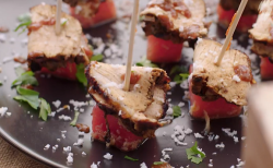 Ainsley Harriott Caribbean chargrilled jerk pork on watermelon and coconut salad with a coffee,  ...