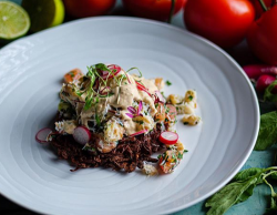 Simon Rimmer's chilli potato Rossi with white and brown crab meat on Sunday Brunch