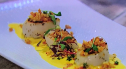 Simon Rimmer's scallops with sweetcorn puree and bacon crumb on Sunday Brunch