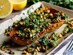 Simon Rimmer's maple roasted squash with hazelnut gremolata on Sunday Brunch