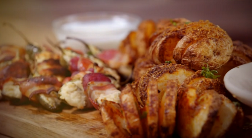 Jimmy Doherty's  spicy spiral potatoes with Parmesan cheese, paprika and jalapeno peppers wrappe ...