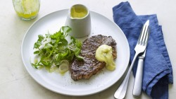 Angela Hartnett's steak with Bearnaise sauce and a watercress, rocket and shallot salad on ...