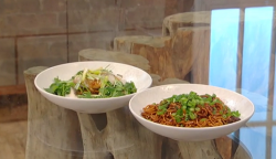 Ken Hom's steamed fish with spicy noodles on Saturday Kitchen