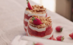 Ainsley Harriott strawberry mash-up with elderflower cream crunch and biscuit topping on Ainsley ...