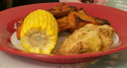 James Drew's turkey nuggets, sweet potato wedges and sweet corn on Eat Well for Less?