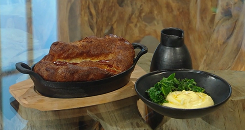 Matt Tebbutt's Toad in the hole with onion gravy and mash potato on Saturday Kitchen