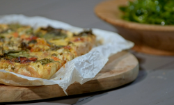 Sal Dhalla's Roasted Vegetable Farinata  with salad on Living On The Veg
