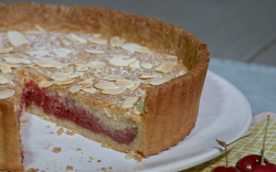 Ian and Henry (Bosh)'s Bakewell tart with raspberries and almond milk on Living On The Veg
