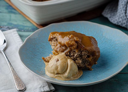 Simon Rimmer's banana and peanut butter pudding with caramel ice cream on Sunday Brunch