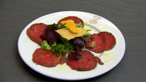 Anthea Turner's beef carpaccio on Celebrity  Come Dine With Me 2020