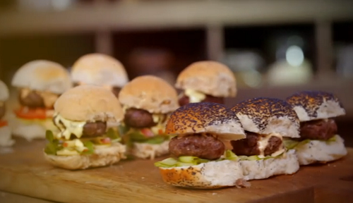 Jimmy Doherty burgers and sliders with three sauces on Jamie and Jimmy's Friday Night Feast