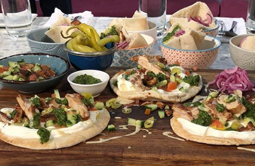 John Gregory-Smith  chicken shish pitta with zhoug on Sunday Brunch