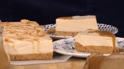 Shepherdess Alison O'Neil's tea infused cheesecake with caramel sauce on This Morning