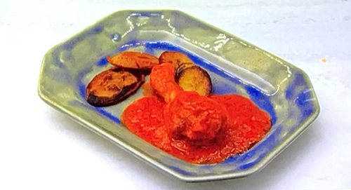 AJ Odudu's stew with chicken and plantain on Celebrity Come Dine with Me 2020