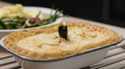 Sarah's chicken, leek and pancetta pie with mash potatoes and green beans on Best Home Cook