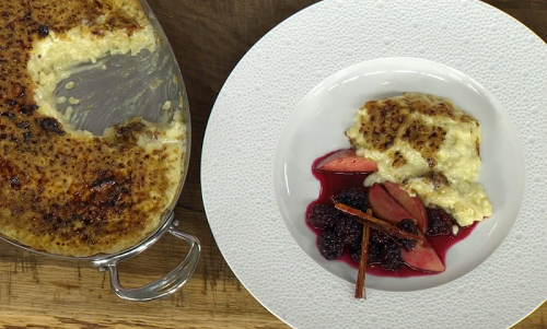 James Martin's mum's clotted cream rice pudding with a apple and blackberry compote  ...