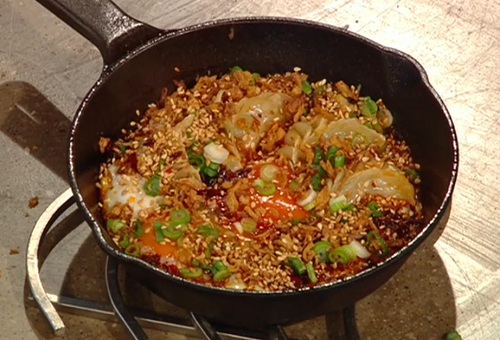 Andrew Wong's Chinese crispy pot-sticker with fried eggs and crispy chilli on Saturday Kitchen