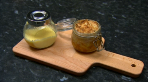 Marcel Somerville's paradise crumble with custard on Celebrity Come Dine With Me 2020