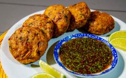 Ian and Henry (Bosh)'s Jackfruit Fishcakes with Thai-Tare sauce on Living On The Veg