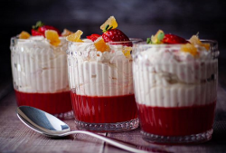 Simon Rimmer's rhubarb fool with strawberry jelly on Sunday Brunch