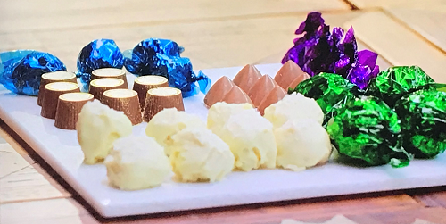 Harriet's boozy chocolates with pina colada,  whisky and caramel flavours on The Hairy Bik ...