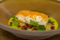 Lisa Allen's baked cod with curry sauce, pomegranate and toasted almonds on James Martin&# ...