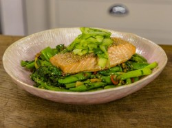 Mark Sargent's poached salmon with stir fried vegetables and sesame seeds on James Martin& ...